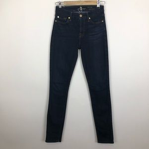 7 for all mankind dark mid rise skinny jeans 25